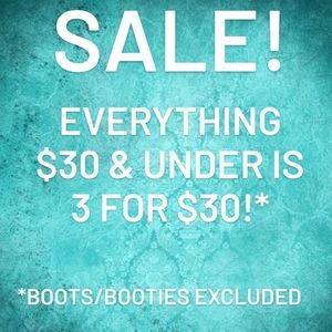 3 FOR $30 SALE (EVERYTHING UNDER $30)